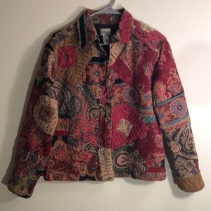 Women's Chico's Blazer Jacket Embroidered Size 1